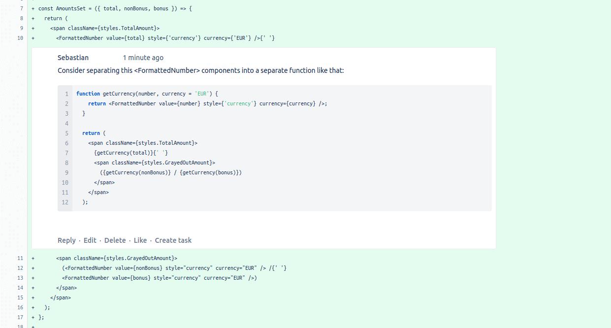 Przykład propozycji zmian podczas code review