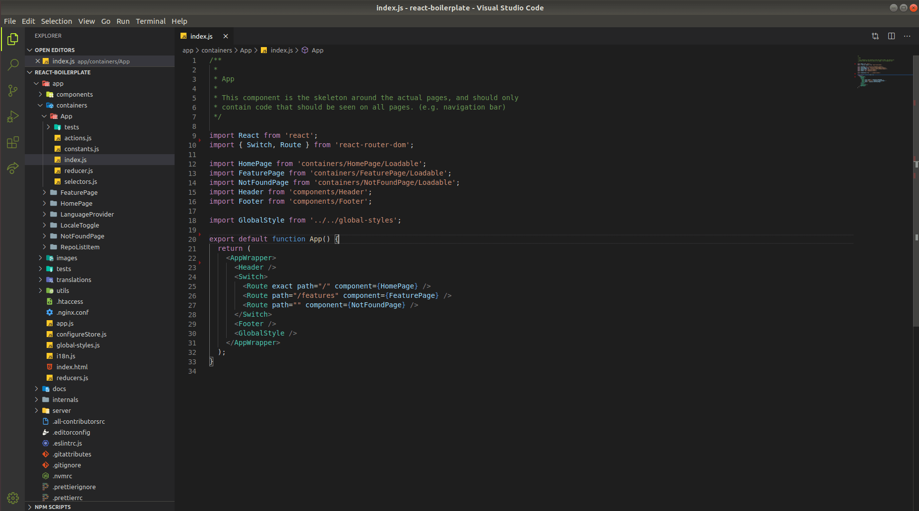 folder structure and open index.js file