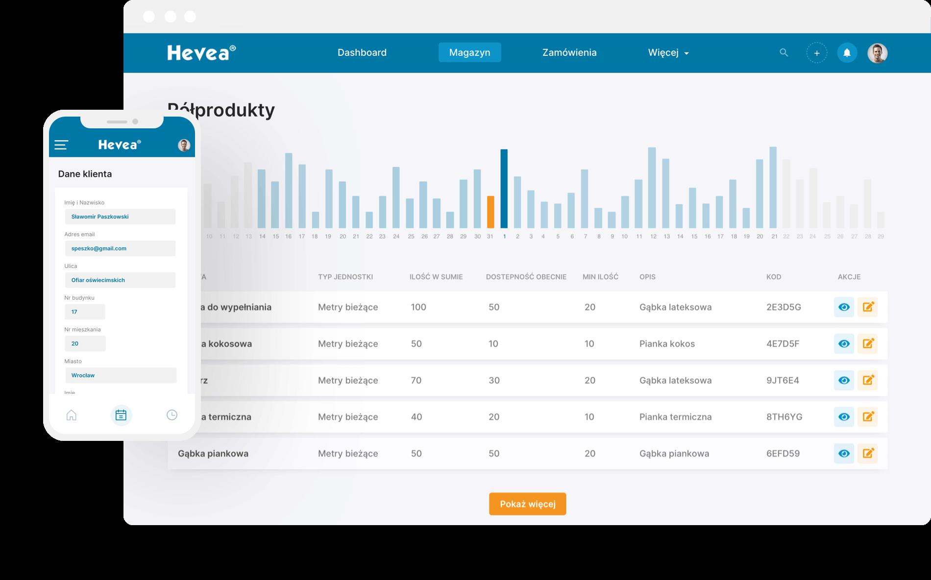 Hevea - mobile and web app